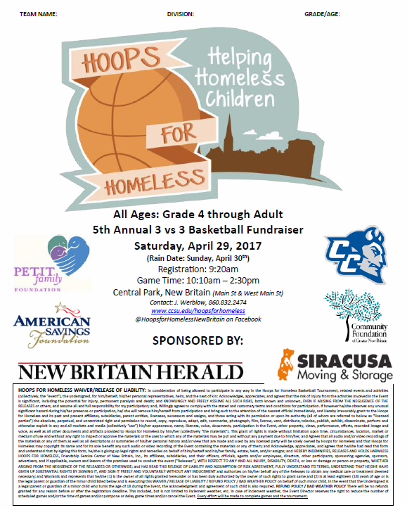 Hoops For Homeless @ Central Park, New Britain